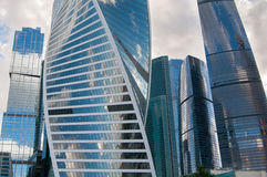 Skyscrapers of Moscow city. Front view on glass facades of skyscrapers, Moscow, Russia Royalty Free Stock Photos