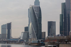 Skyscrapers of Moscow City. Modern business center Moscow-City royalty free stock images