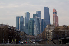 Skyscrapers of Moscow City. Modern business center Moscow-City royalty free stock photography