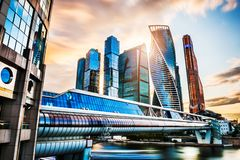 Skyscrapers of Moscow city at sunset royalty free stock image
