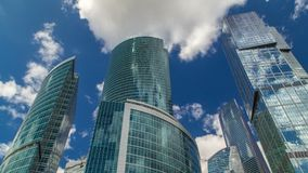 Skyscrapers of Moscow-city timelapse with reflections on glass surface. Business Offices, Corporate Buildings In Moscow