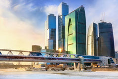 Skyscrapers of the Moscow International Business C. Enter (MIBC) MIBC is a unique city-building construction project and biggest in Europe Royalty Free Stock Photo