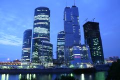 Skyscrapers on the Moscow-river Stock Images