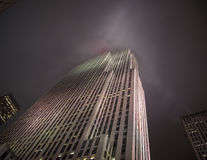 Skyscrapers of New York. Very tall building in New York city at night stock images