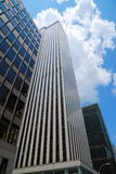 Skyscrapers of New York. Glassy skyscrapers of Manhattan are photographed from below against blue sky of New York stock images