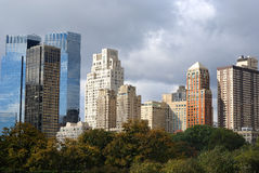 Skyscrapers in New York City. View of modern glass skyscrapers from Central Park in New York City Royalty Free Stock Photography