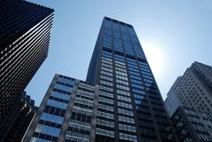 Skyscrapers in new york city, new york, clear sky. Skyscrapers in new york city, new york, manhattan stock photos
