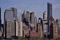 Skyscrapers of New York. Manhattan skyscrapers as viewed from Roosevelt Island in New York City Stock Photos
