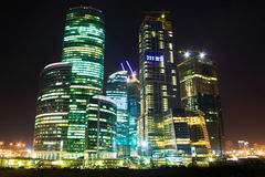 Skyscrapers at night Royalty Free Stock Photography