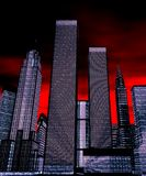 Skyscrapers at night - 3D illu royalty free stock photo