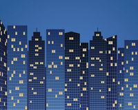 Skyscrapers by night Stock Images