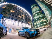 Skyscrapers at night Parking cars. District of Moscow city. Russia, Moscow, July 20, 2017. Royalty Free Stock Photography