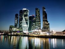 Skyscrapers at night. Skyscrapers Moscow City at the river at night Stock Images