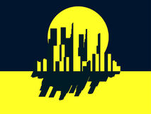 Skyscrapers night. Panorama of a big city in retro style. Yellow with black. Noir. Vector. Illustration Stock Photography