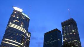 Skyscrapers in night scene Stock Photo