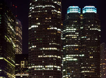 Skyscrapers at night time. Skyscrapers - office buildings in downtown toronto at night time Royalty Free Stock Image