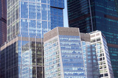 Skyscrapers in office business cluster Royalty Free Stock Image