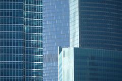 Skyscrapers in office business cluster. Skyscrapers in modern office business cluster. Horizontal view closeup Stock Photos