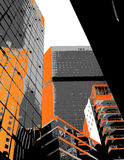 Skyscrapers with orange parts. Stock Images