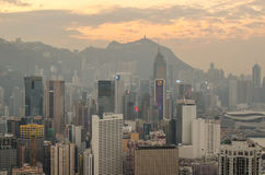 Skyscrapers and other buildings on Hong Kong Island in Hong Kong, China, viewed from the Braemar Hill. Royalty Free Stock Photo