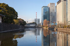 Skyscrapers and other modern buildings in Tokyo next to the Toky Royalty Free Stock Photography