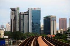 Skyscrapers panorama, Kuala Lumpur. Skytrain of Kuala Lumpur, Malaysia Stock Photos