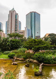 Skyscrapers and park Stock Images