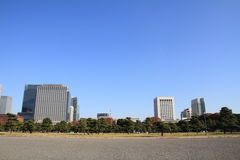 Skyscrapers and park in Hibiya, Tokyo Royalty Free Stock Photo