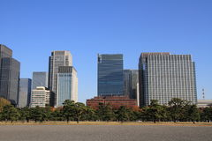 Skyscrapers and park in Hibiya, Tokyo. Japan royalty free stock photo