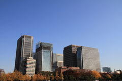 Skyscrapers and park in Hibiya, Tokyo. Japan royalty free stock photos