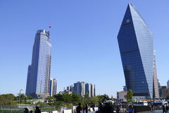 Skyscrapers and people in The Levent District of Istanbul Royalty Free Stock Images