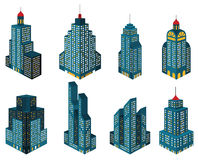 Skyscrapers in perspective (blue) Royalty Free Stock Images