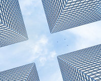 Skyscrapers and plane Stock Photography