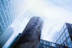 Skyscrapers and plane Royalty Free Stock Photos