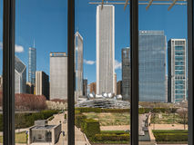 Skyscrapers and Pritzker Pavilion viewed from inside Chicago Art Royalty Free Stock Photo