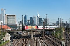Skyscrapers and the railway aerial of Frankfurt main station Royalty Free Stock Photos