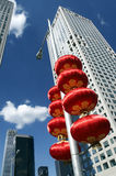 Skyscrapers and red lanterns. In the business district, which is a blessing, but also a symbol Royalty Free Stock Images