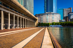 Skyscrapers and reflecting pool seen at Christian Science Plaza Royalty Free Stock Image