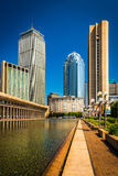 Skyscrapers and reflecting pool seen at Christian Science Plaza Royalty Free Stock Photography