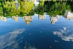 Skyscrapers reflection in the lake Stock Image