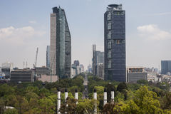 Skyscrapers in Reforma walk. Two of the tallest buildings in Mexico City, are on Reforma walk Stock Photo