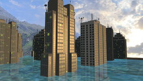 Skyscrapers between the rise of the water stock video