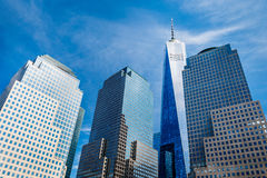 Skyscrapers rising up to sky on Lower Manhattan, including the Freedom Tower Royalty Free Stock Photos