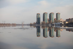 Skyscrapers on the river bank Stock Photography