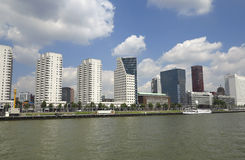 Skyscrapers in Rotterdam on the river shore Stock Photo