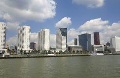 Skyscrapers in Rotterdam on the river shore Stock Photo