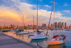 Skyscrapers of San Diego Skyline, Sunset at the harbor, CA(P) Stock Photography