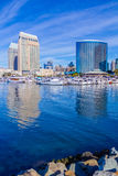 Skyscrapers of San Diego Skyline, waterfront, boats and harbor, Stock Images