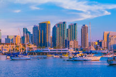 Skyscrapers of San Diego Skyline ,waterfront and harbor at dusk, Stock Image