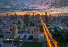 Skyscrapers in Sathorn at Sunrise, Bangkok, Thailand Royalty Free Stock Photo